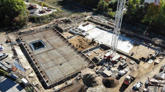 Blick auf die Baustelle ZELUBA in Braunschweig Zentrum für leichte und umweltgerechte Bauten