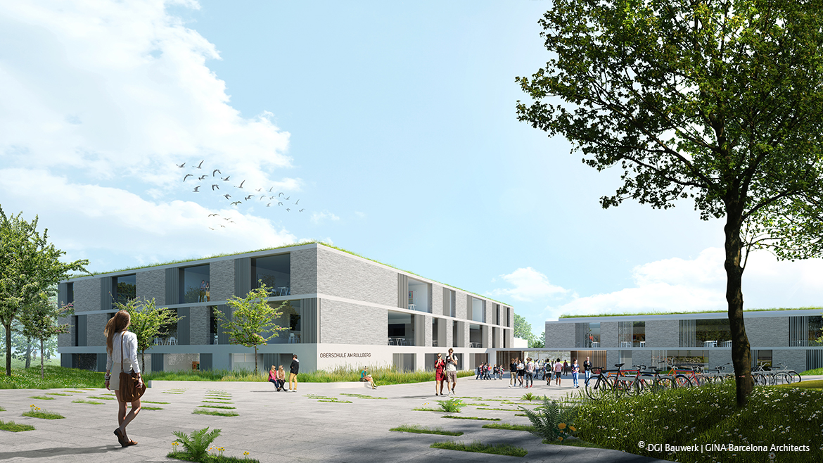 1st prize for DGI Bauwerk and GINA Barcelona ArchitectsDEVELOPMENT OF THE SCHOOL SITE 'OBERSCHULE AM ROLLBERG', Bernau