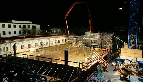 Center for Fundamental Physicsexperiment hall 1 with technical center  Concreting of the ceiling starts - 130 trucks spread over about 14 hours